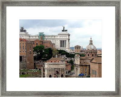 A View From Palatine Hill In Rome Italy Framed Print by Mindy Newman