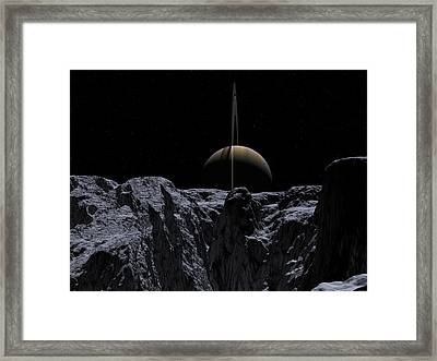 Framed Print featuring the digital art A View From Rhea by David Robinson