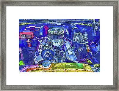 A View Of A Motor Car Engine Framed Print by Lanjee Chee