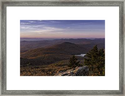 Framed Print featuring the photograph A View Of Grandmother Mountain And Lake by Ken Barrett