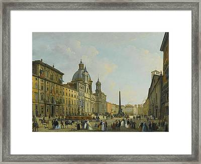 A View Of Piazza Navona With Elegantly Dressed Figures Framed Print