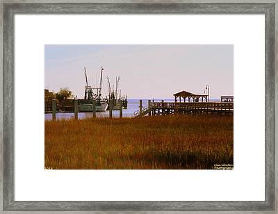A View Of Shem Creek Mt Pleasant Sc Framed Print by Lisa Wooten