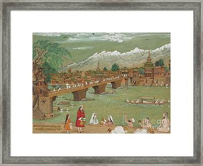 A View Of Srinagar, 1872 Framed Print by Bishan Singh