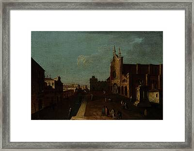 A View Of The Campo Di San Giovanni E Paolo Framed Print by Canaletto
