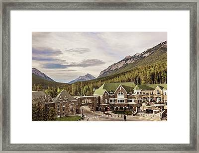 A View Of The Canadian Rockies From The Fairmont Hotel In Banff Framed Print