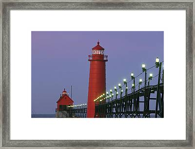 A View Of The Grand Haven Lighthouse Framed Print by Ira Block