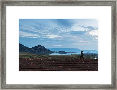 A View Of The Lake, The Mountains And The Twilight Evening Sky Framed Print