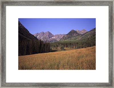 A View Of The Maroon Bells Mountains Framed Print by Taylor S. Kennedy