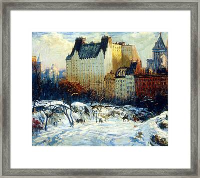 A View Of The Plaza From Central Park Framed Print by Arthur Clifton Goodwin
