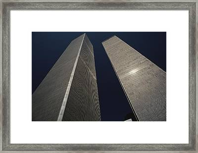 A View Of The Twin Towers Of The World Framed Print by Roy Gumpel