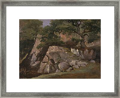 A View Of The Valley Of Rocks Near Mittlach  Framed Print by James Arthur O'Connor