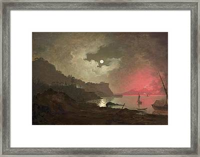 A View Of Vesuvius From Posillipo, Naples Framed Print by Joseph Wright