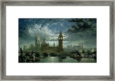 A View Of Westminster Abbey And The Houses Of Parliament Framed Print