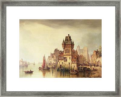 A View On The River Dordrecht Framed Print by Ludwig Hermann