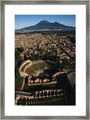 A View Over Pompeii Toward Mount Framed Print by O. Louis Mazzatenta