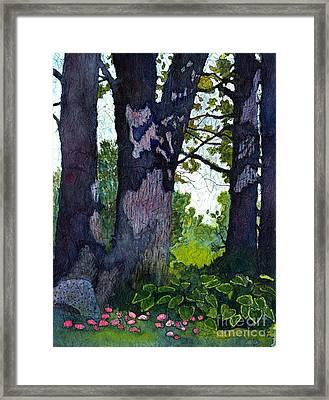 A View Through The Trees Watercolor Batik Framed Print