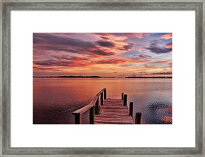 A View To The Bay - Sunset Clouds Framed Print
