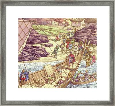 A Viking Raid Framed Print by Pat Nicolle
