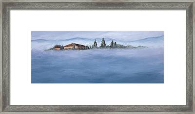 A Villa In The Mist Framed Print by Mary Giacomini