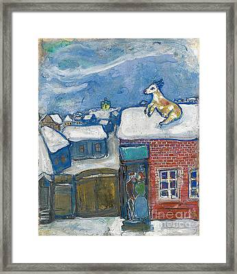 A Village In Winter Framed Print