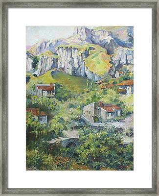 A Village Nestled In The Foothills Framed Print