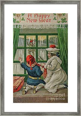 A Vintage Happy New Year Framed Print by Patricia Hofmeester