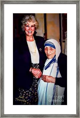 A Vist With Mother Teresa Framed Print by Kathy Tarochione