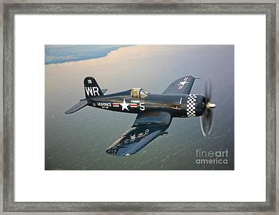 Framed Print featuring the photograph A Vought F4u-5 Corsair In Flight by Scott Germain