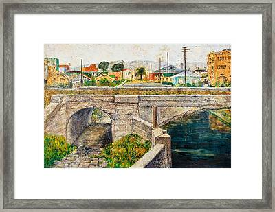 A Walk Along The Canal By Victor Herman Framed Print by Joni Herman