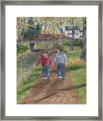 A Walk Along The Canal Framed Print