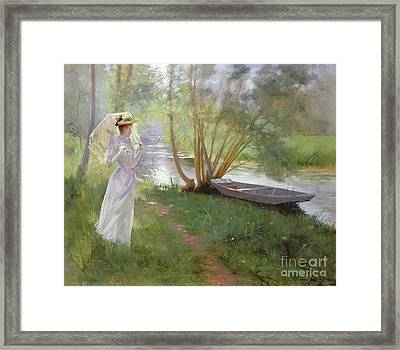 A Walk By The River Framed Print by Pierre Andre Brouillet