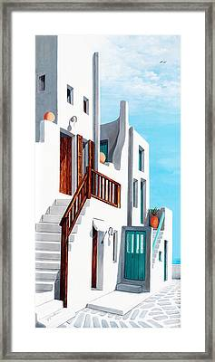 A Walk By The Sea In Mykonos Framed Print by Mary Grden's Baywood Gallery