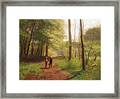 A Walk In The Forest Framed Print by Niels Christian Hansen
