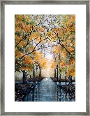 A Walk In The Park - Autumn Framed Print by Janine Riley
