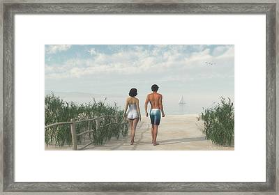 A Walk In The Sand Dunes Framed Print