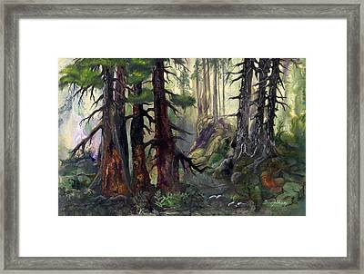 Framed Print featuring the painting A Walk In The Woods by Sherry Shipley