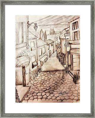 A Walk In Town Framed Print by Nermine Hanna