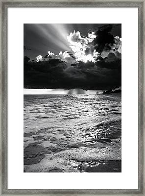 A Walk On The Beach In Black And White Framed Print