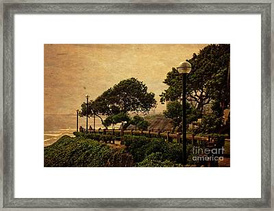 Framed Print featuring the photograph A Walk On The Edge - Peru by Mary Machare