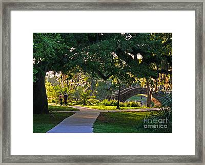 A Walk Though The Park Framed Print by Jeanne  Woods