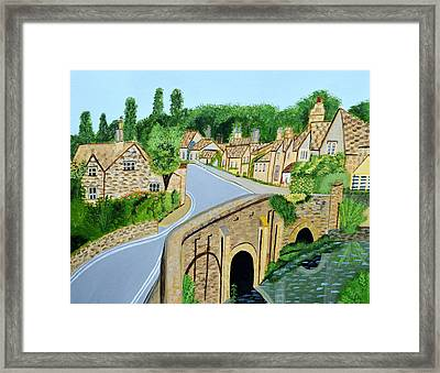 A Walk Through A Village In The English Cotswolds Framed Print