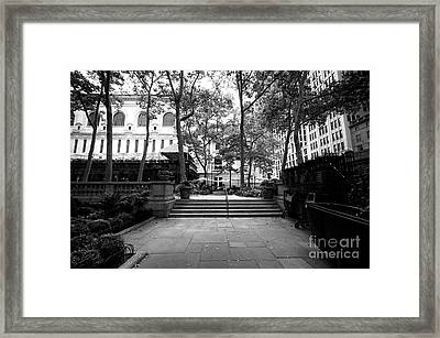 Framed Print featuring the photograph A Walk Through Bryant Park by John Rizzuto