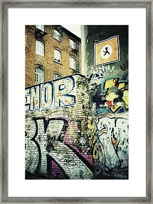 A Wall Of Berlin With Graffiti Framed Print