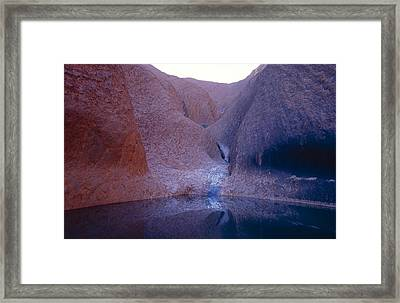 A Waterhole Oasis And Aboriginal Sacred Framed Print by Jason Edwards