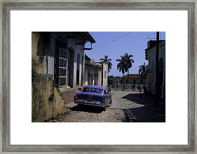 A Well Kept Old American Car Sits Framed Print