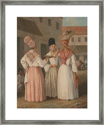 A West Indian Flower Girl And Two Other Free Women Of Color Framed Print by Agostino Brunias