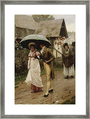 A Wet Sunday Morning Framed Print by Edmund Blair Leighton
