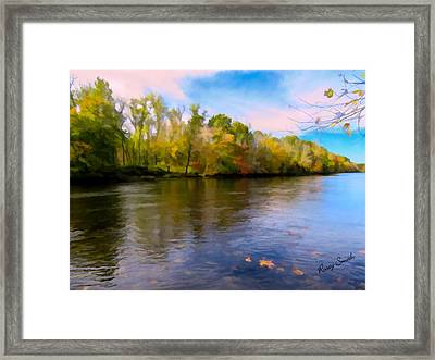 A Wide Scenic View Of Shetucket River. Framed Print