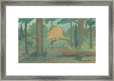A Wiggle Much Creature Looking At A Bird's Nest Framed Print by Herbert Crowley