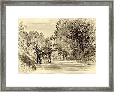 A Windy Day Sepia Framed Print
